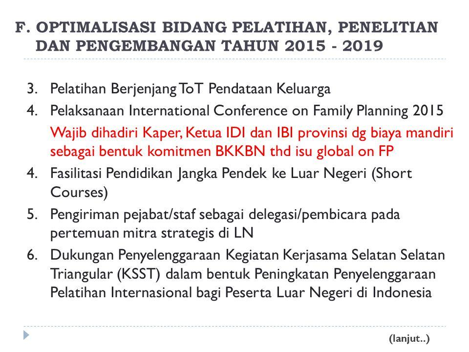 3.Pelatihan Berjenjang ToT Pendataan Keluarga 4.Pelaksanaan International Conference on Family Planning 2015 Wajib dihadiri Kaper, Ketua IDI dan IBI provinsi dg biaya mandiri sebagai bentuk komitmen BKKBN thd isu global on FP 4.Fasilitasi Pendidikan Jangka Pendek ke Luar Negeri (Short Courses) 5.Pengiriman pejabat/staf sebagai delegasi/pembicara pada pertemuan mitra strategis di LN 6.Dukungan Penyelenggaraan Kegiatan Kerjasama Selatan Selatan Triangular (KSST) dalam bentuk Peningkatan Penyelenggaraan Pelatihan Internasional bagi Peserta Luar Negeri di Indonesia F.