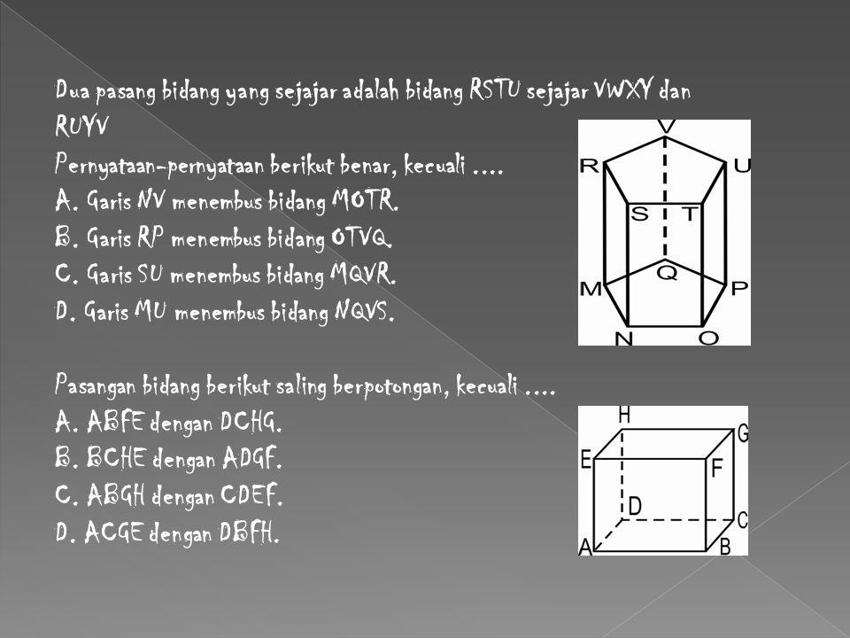 Dua pasang bidang yang sejajar adalah bidang RSTU sejajar VWXY dan RUYV Pernyataan-pernyataan berikut benar, kecuali.... A. Garis NV menembus bidang M