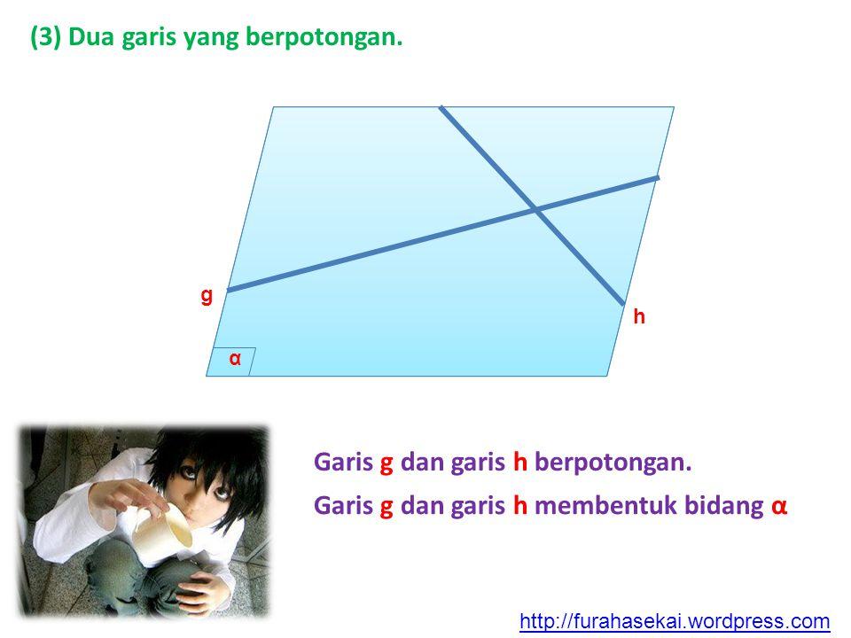 (3) Dua garis yang berpotongan. g h α Garis g dan garis h berpotongan. Garis g dan garis h membentuk bidang α http://furahasekai.wordpress.com