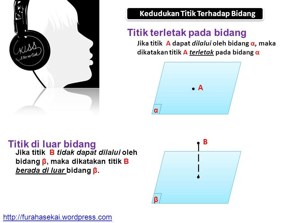Kedudukan Titik Terhadap Bidang Titik terletak pada bidang Titik di luar bidang Jika titik A dapat dilalui oleh bidang α, maka dikatakan titik A terle