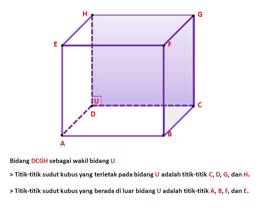 . B E.. F. G.D.D.A.A. C U H. Bidang DCGH sebagai wakil bidang U > Titik-titik sudut kubus yang terletak pada bidang U adalah titik-titik C, D, G, dan