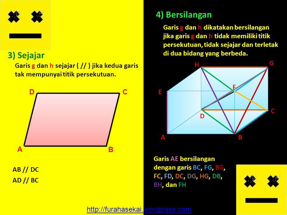 3) Sejajar Garis g dan h sejajar ( // ) jika kedua garis tak mempunyai titik persekutuan. 4) Bersilangan Garis g dan h dikatakan bersilangan jika gari