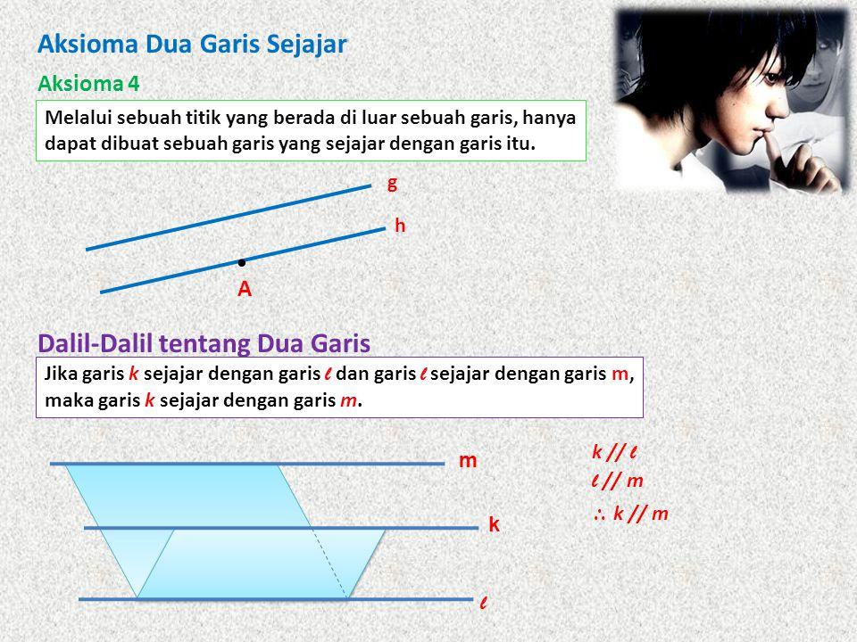 Aksioma Dua Garis Sejajar Aksioma 4 Melalui sebuah titik yang berada di luar sebuah garis, hanya dapat dibuat sebuah garis yang sejajar dengan garis i