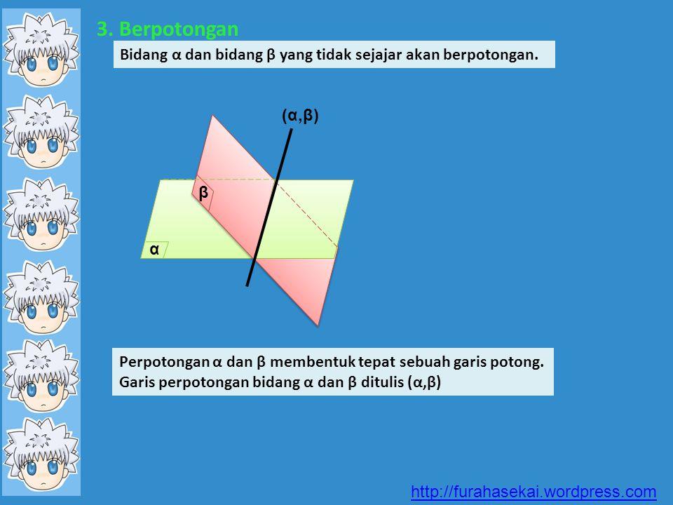 3. Berpotongan Bidang α dan bidang β yang tidak sejajar akan berpotongan. Perpotongan α dan β membentuk tepat sebuah garis potong. Garis perpotongan b