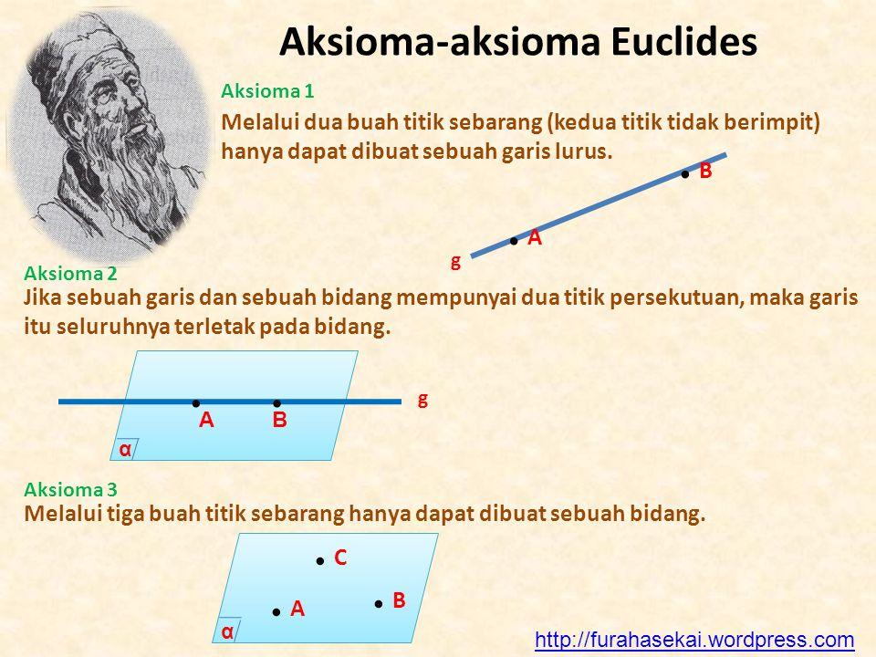 Aksioma-aksioma Euclides Aksioma 1 Melalui dua buah titik sebarang (kedua titik tidak berimpit) hanya dapat dibuat sebuah garis lurus. g Aksioma 2 Jik