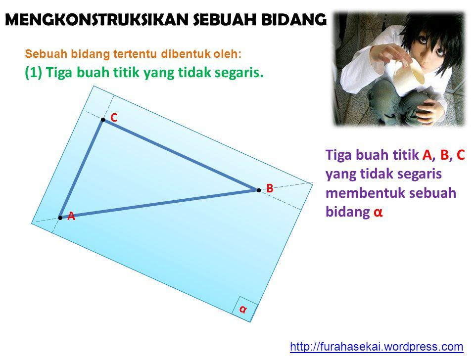 MENGKONSTRUKSIKAN SEBUAH BIDANG Sebuah bidang tertentu dibentuk oleh: (1) Tiga buah titik yang tidak segaris. α Tiga buah titik A, B, C yang tidak seg
