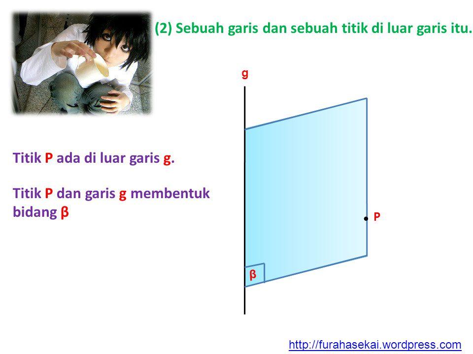 (2) Sebuah garis dan sebuah titik di luar garis itu. β g Titik P ada di luar garis g. Titik P dan garis g membentuk bidang β. P http://furahasekai.wor
