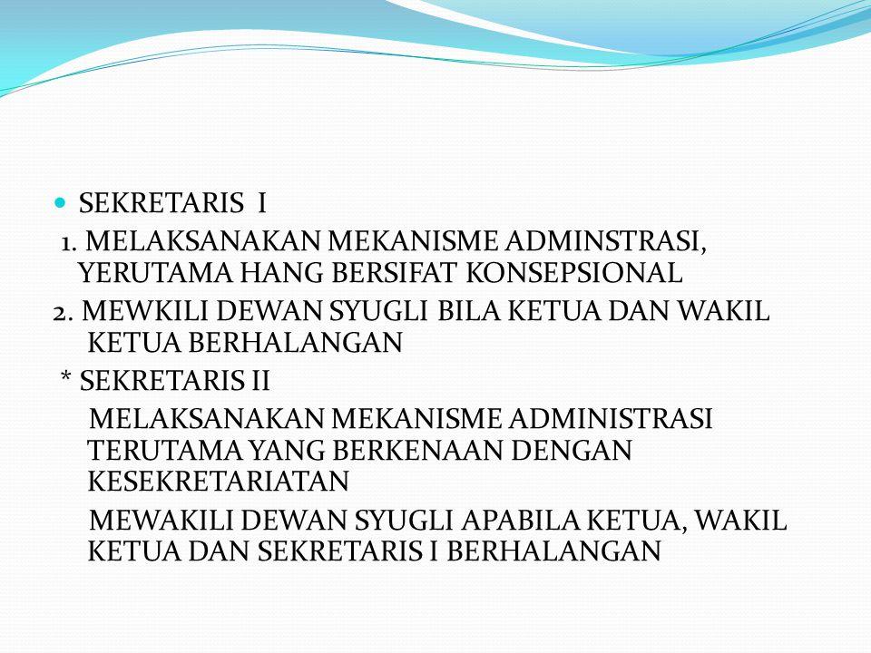 SEKRETARIS I 1.MELAKSANAKAN MEKANISME ADMINSTRASI, YERUTAMA HANG BERSIFAT KONSEPSIONAL 2.