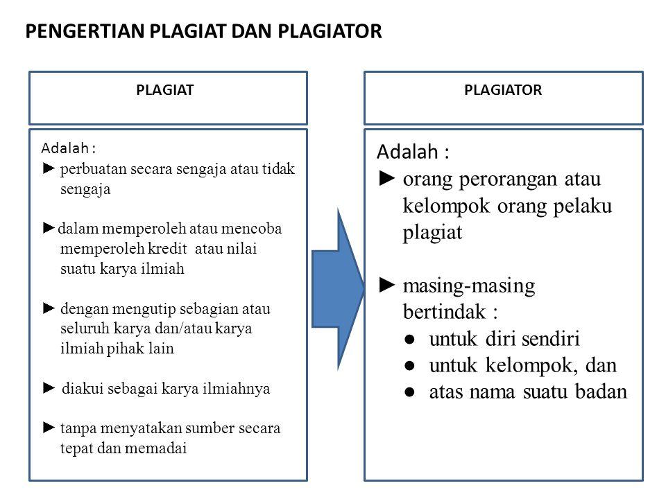 PENGERTIAN PLAGIAT DAN PLAGIATOR PLAGIAT Adalah : ►perbuatan secara sengaja atau tidak sengaja ►dalam memperoleh atau mencoba memperoleh kredit atau n