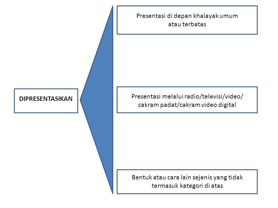 DIPRESENTASIKAN da Presentasi di depan khalayak umum atau terbatas Presentasi melalui radio/televisi/video/ cakram padat/cakram video digital Bentuk a