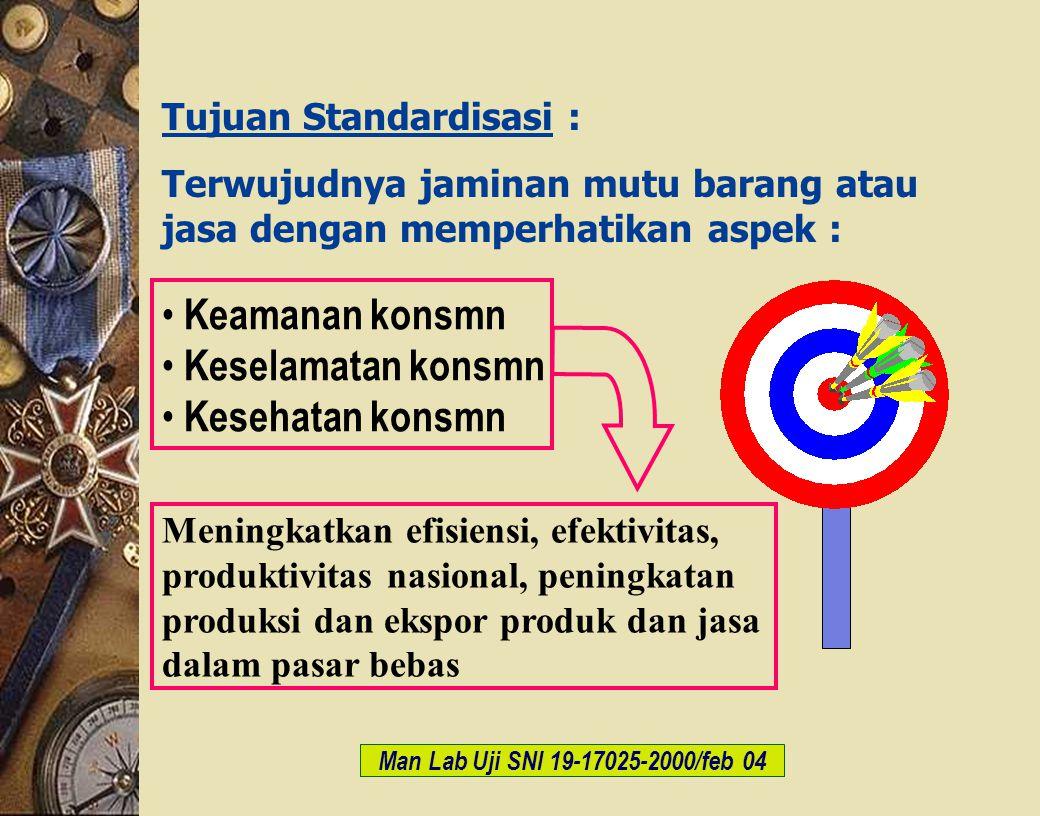 c-Bios Training Body/GLP/2003 Tujuan Standardisasi : Terwujudnya jaminan mutu barang atau jasa dengan memperhatikan aspek : Man Lab Uji SNI 19-17025-2