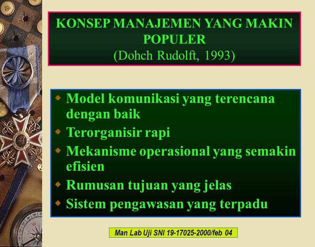 c-Bios Training Body/GLP/2003 Man Lab Uji SNI 19-17025-2000/feb 04 KONSEP MANAJEMEN YANG MAKIN POPULER (Dohch Rudolft, 1993)  Model komunikasi yang t