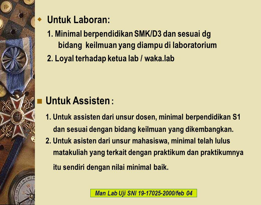 c-Bios Training Body/GLP/2003  Untuk Laboran: 1. Minimal berpendidikan SMK/D3 dan sesuai dg bidang keilmuan yang diampu di laboratorium 2. Loyal terh