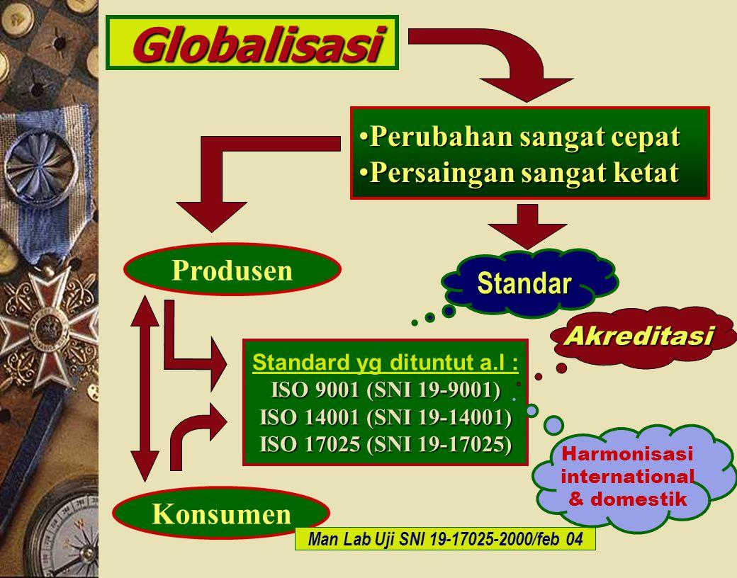 c-Bios Training Body/GLP/2003 Globalisasi Perubahan sangat cepatPerubahan sangat cepat Persaingan sangat ketatPersaingan sangat ketat Produsen Standar