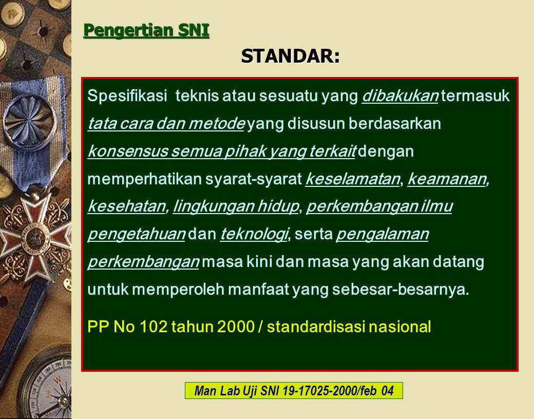 c-Bios Training Body/GLP/2003 Pengertian SNI STANDAR: Spesifikasi teknis atau sesuatu yang dibakukan termasuk tata cara dan metode yang disusun berdas