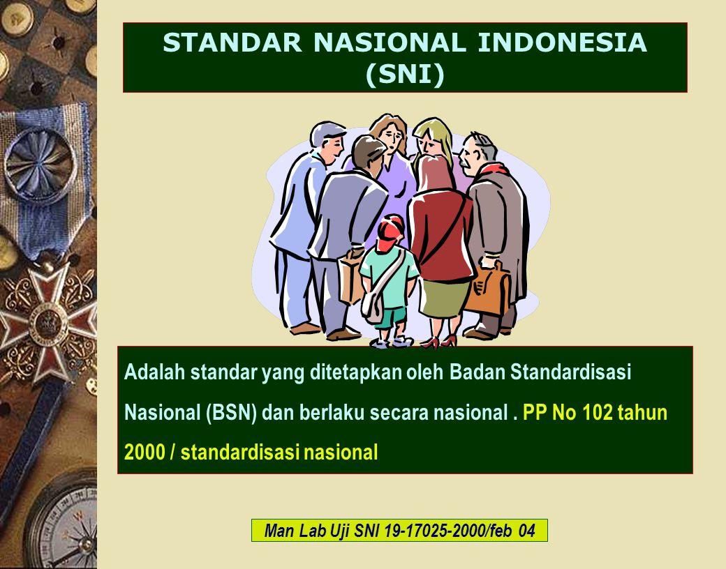 c-Bios Training Body/GLP/2003 STANDAR NASIONAL INDONESIA (SNI) Adalah standar yang ditetapkan oleh Badan Standardisasi Nasional (BSN) dan berlaku seca