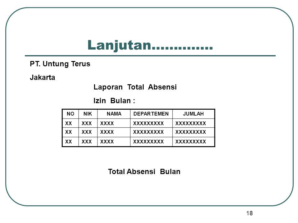 18 Lanjutan………….. NONIKNAMADEPARTEMENJUMLAH XXXXXXXXXXXXXXXXXX XXXXXXXXXXXXXXXXXX XXXXXXXXXXXXXXXXXX Total Absensi Bulan PT. Untung Terus Jakarta Lapo