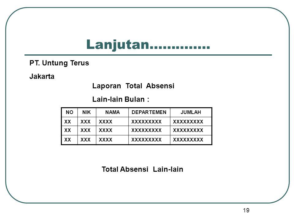 19 Lanjutan………….. NONIKNAMADEPARTEMENJUMLAH XXXXXXXXXXXXXXXXXX XXXXXXXXXXXXXXXXXX XXXXXXXXXXXXXXXXXX Total Absensi Lain-lain PT. Untung Terus Jakarta