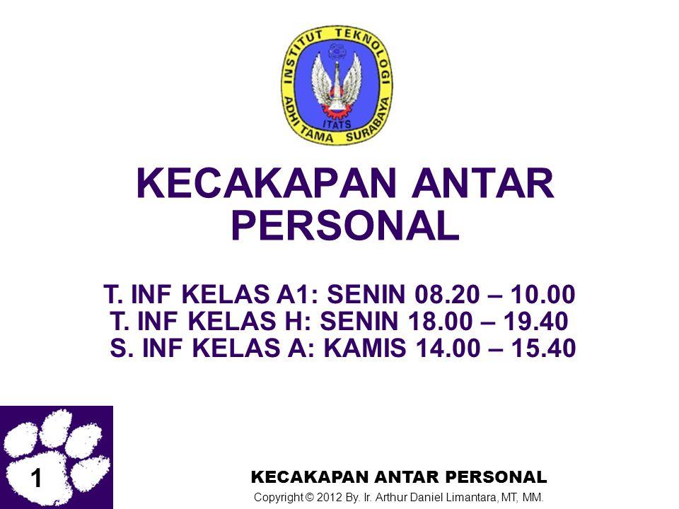 1 KECAKAPAN ANTAR PERSONAL Copyright © 2012 By. Ir. Arthur Daniel Limantara, MT, MM. KECAKAPAN ANTAR PERSONAL T. INF KELAS A1: SENIN 08.20 – 10.00 T.