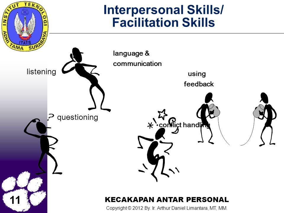 11 KECAKAPAN ANTAR PERSONAL Copyright © 2012 By. Ir. Arthur Daniel Limantara, MT, MM. Interpersonal Skills/ Facilitation Skills listening questioning