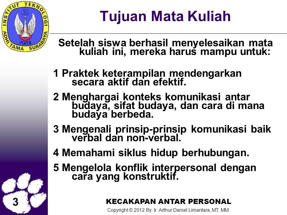 3 KECAKAPAN ANTAR PERSONAL Copyright © 2012 By. Ir. Arthur Daniel Limantara, MT, MM. Tujuan Mata Kuliah Setelah siswa berhasil menyelesaikan mata kuli