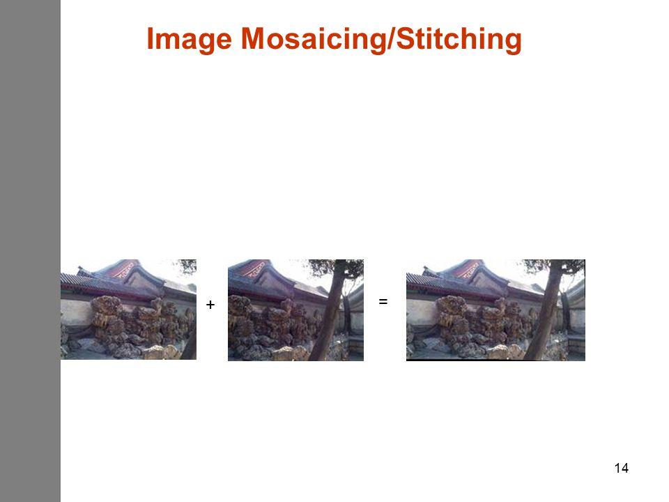 14 = + Image Mosaicing/Stitching