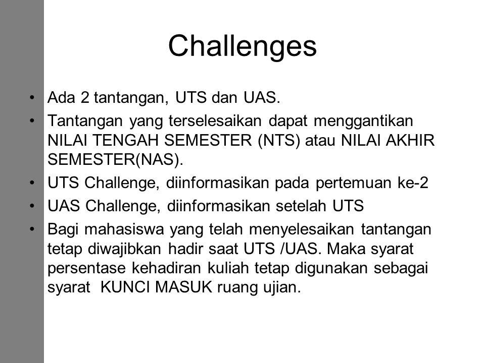 Challenges Ada 2 tantangan, UTS dan UAS. Tantangan yang terselesaikan dapat menggantikan NILAI TENGAH SEMESTER (NTS) atau NILAI AKHIR SEMESTER(NAS). U