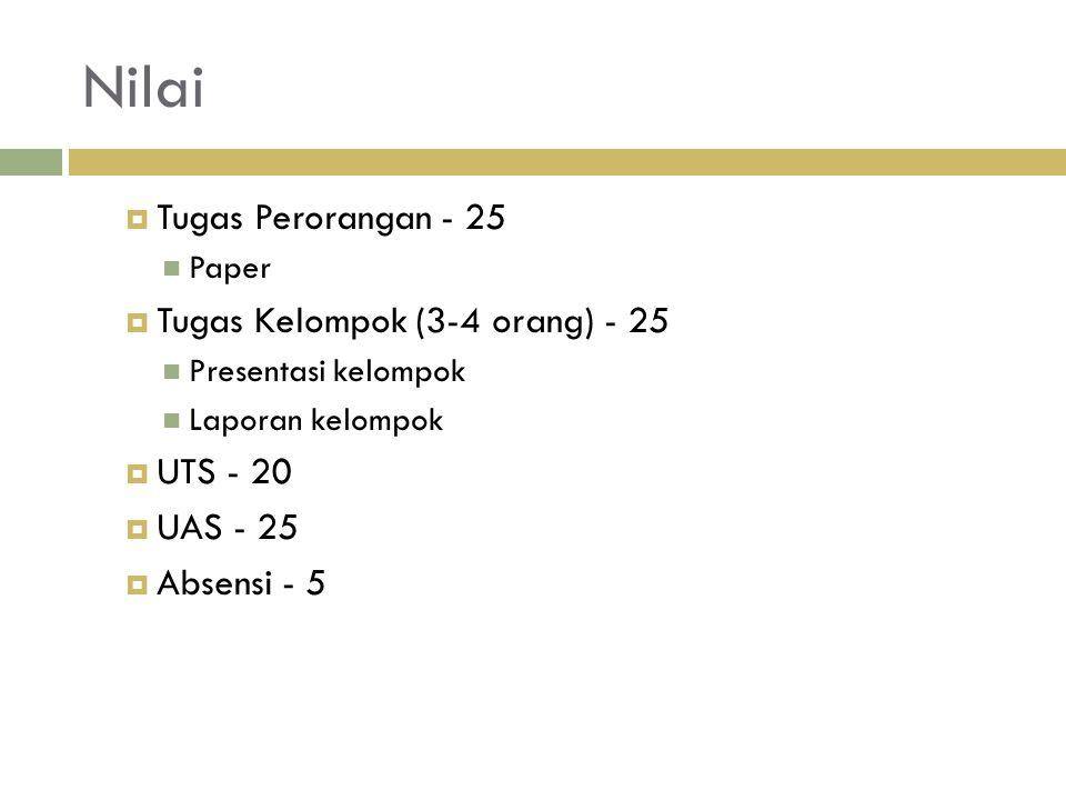 Nilai  Tugas Perorangan - 25 Paper  Tugas Kelompok (3-4 orang) - 25 Presentasi kelompok Laporan kelompok  UTS - 20  UAS - 25  Absensi - 5