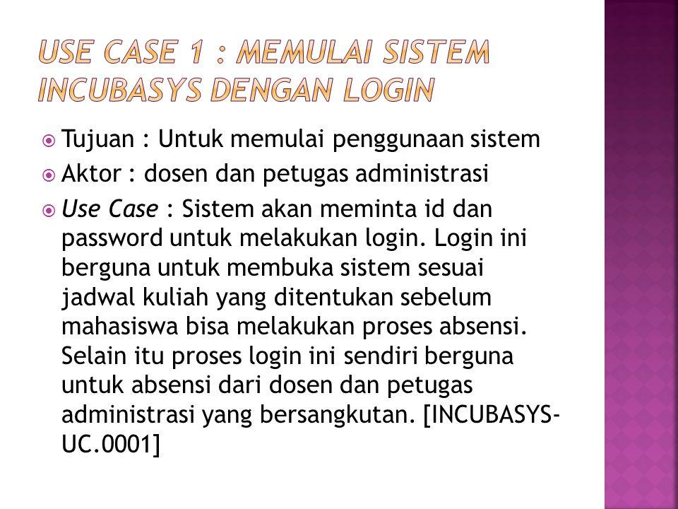  Tujuan : Untuk memulai penggunaan sistem  Aktor : dosen dan petugas administrasi  Use Case : Sistem akan meminta id dan password untuk melakukan l