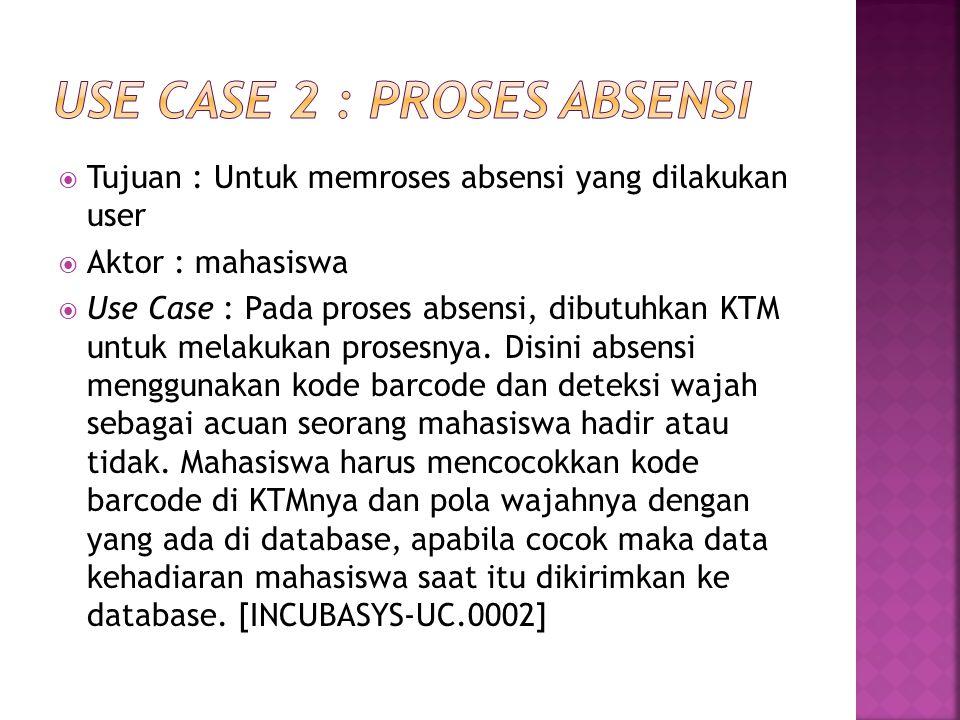  Tujuan : Untuk memroses absensi yang dilakukan user  Aktor : mahasiswa  Use Case : Pada proses absensi, dibutuhkan KTM untuk melakukan prosesnya.