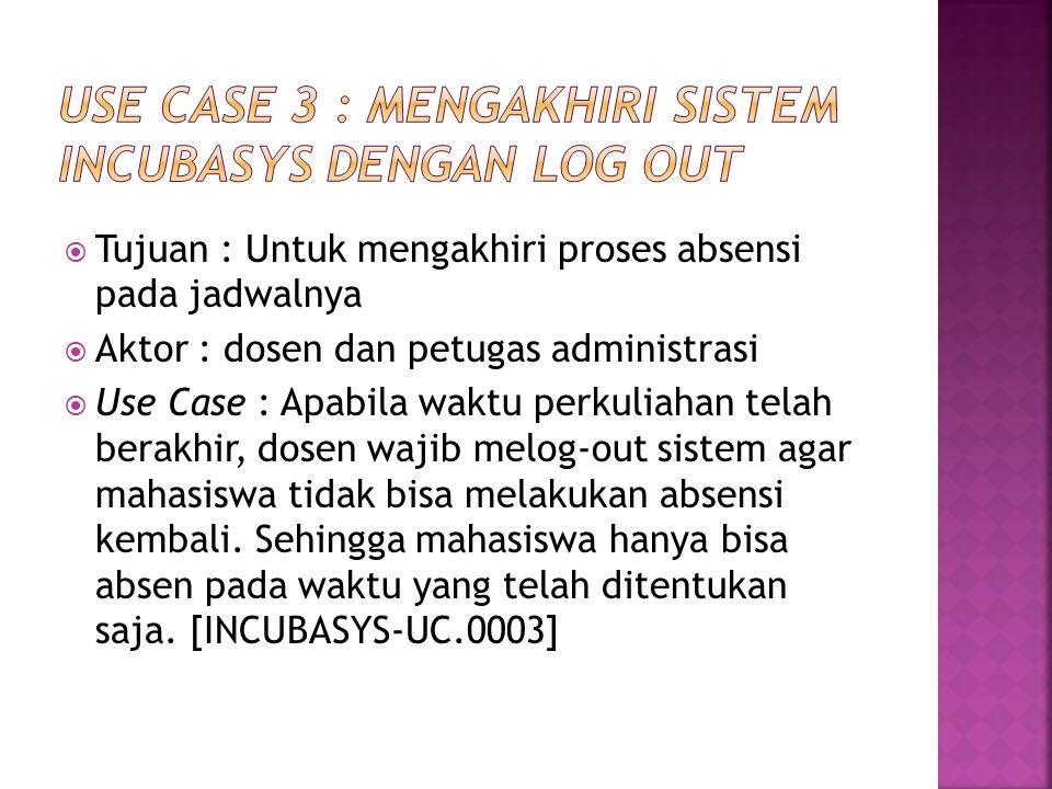  Tujuan : Untuk mengakhiri proses absensi pada jadwalnya  Aktor : dosen dan petugas administrasi  Use Case : Apabila waktu perkuliahan telah berakh