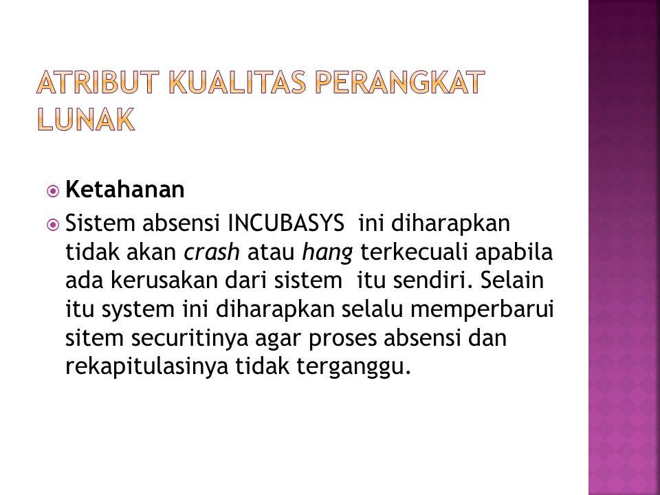  Ketahanan  Sistem absensi INCUBASYS ini diharapkan tidak akan crash atau hang terkecuali apabila ada kerusakan dari sistem itu sendiri. Selain itu