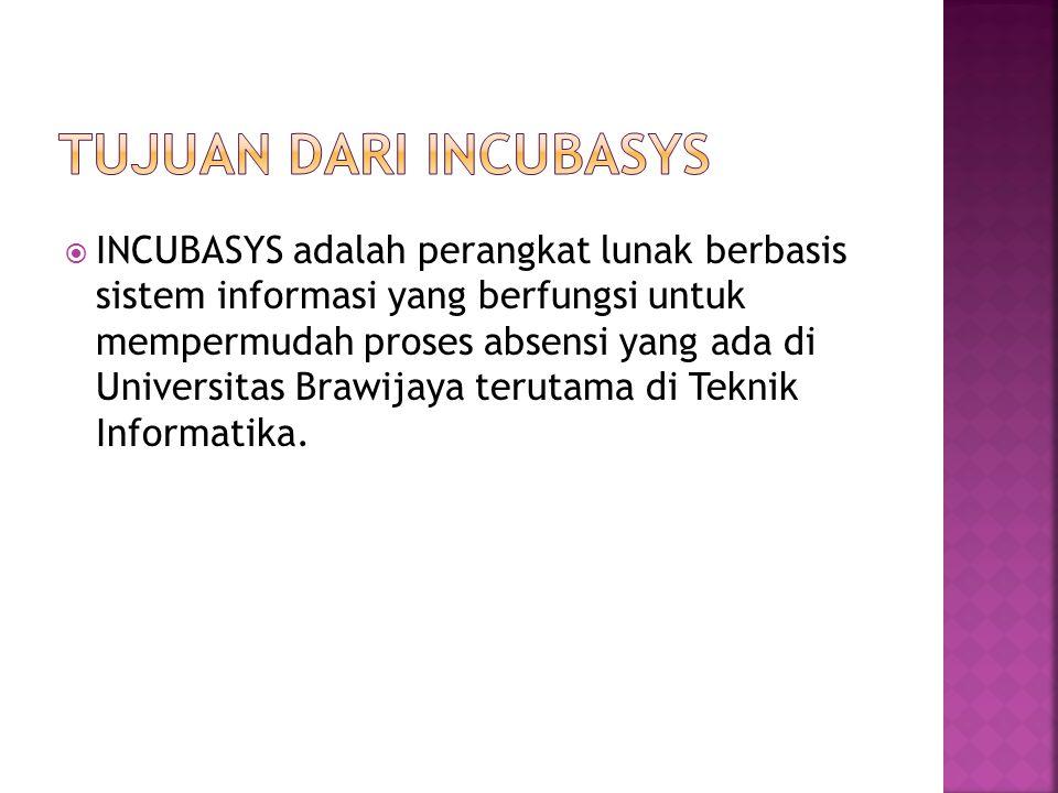  INCUBASYS adalah perangkat lunak berbasis sistem informasi yang berfungsi untuk mempermudah proses absensi yang ada di Universitas Brawijaya terutam