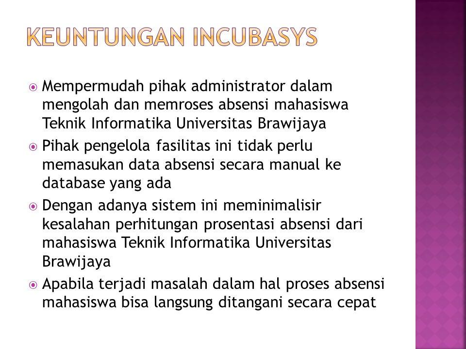  Mempermudah pihak administrator dalam mengolah dan memroses absensi mahasiswa Teknik Informatika Universitas Brawijaya  Pihak pengelola fasilitas i