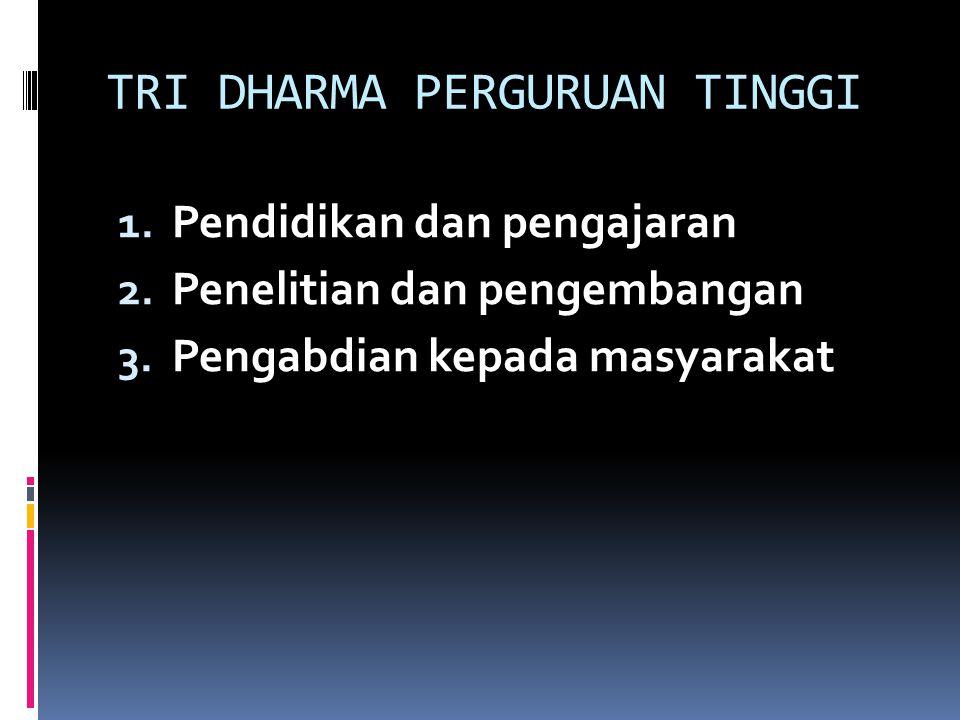 TRI DHARMA PERGURUAN TINGGI 1. Pendidikan dan pengajaran 2.