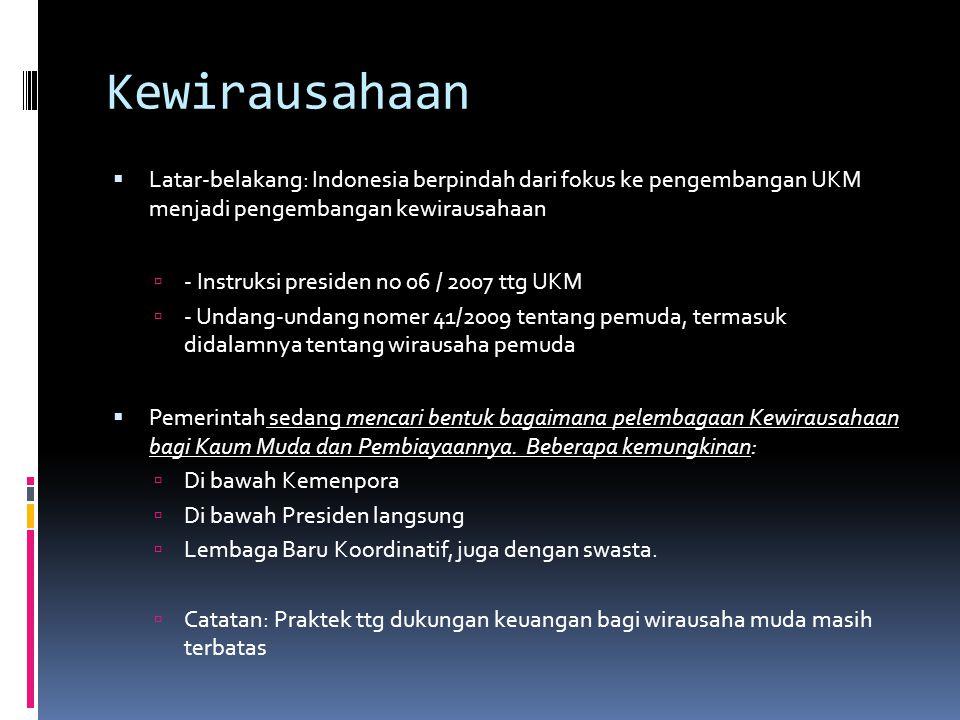 Kewirausahaan  Latar-belakang: Indonesia berpindah dari fokus ke pengembangan UKM menjadi pengembangan kewirausahaan  - Instruksi presiden no 06 / 2007 ttg UKM  - Undang-undang nomer 41/2009 tentang pemuda, termasuk didalamnya tentang wirausaha pemuda  Pemerintah sedang mencari bentuk bagaimana pelembagaan Kewirausahaan bagi Kaum Muda dan Pembiayaannya.