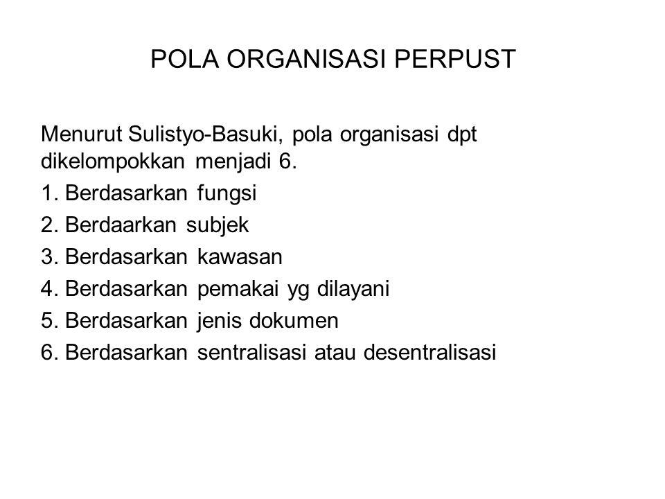 POLA ORGANISASI PERPUST Menurut Sulistyo-Basuki, pola organisasi dpt dikelompokkan menjadi 6. 1. Berdasarkan fungsi 2. Berdaarkan subjek 3. Berdasarka