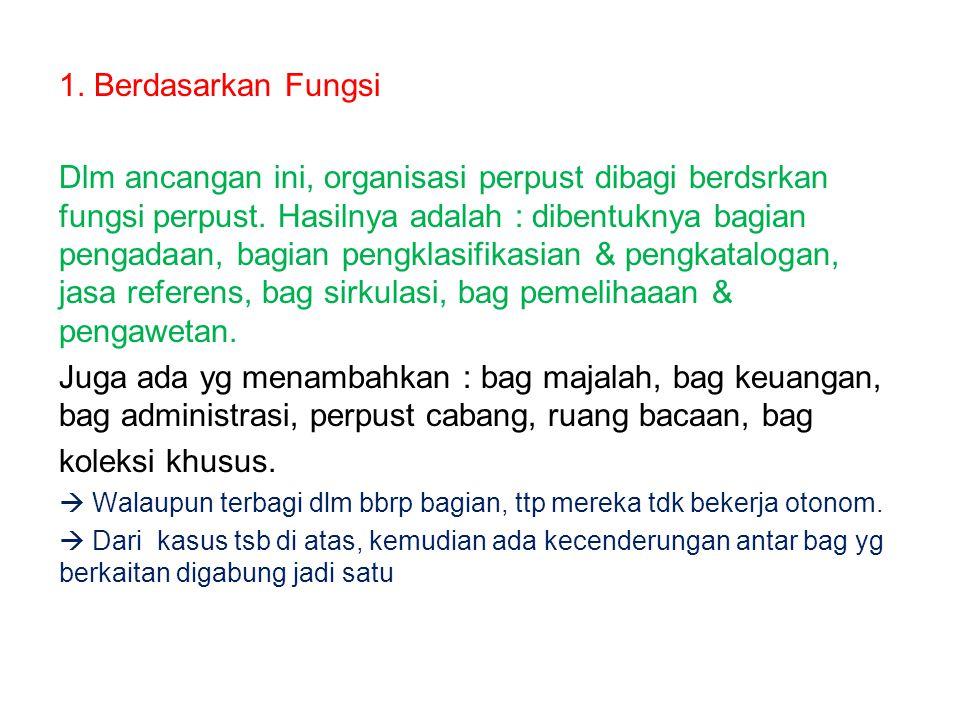 1.Berdasarkan Fungsi Dlm ancangan ini, organisasi perpust dibagi berdsrkan fungsi perpust.