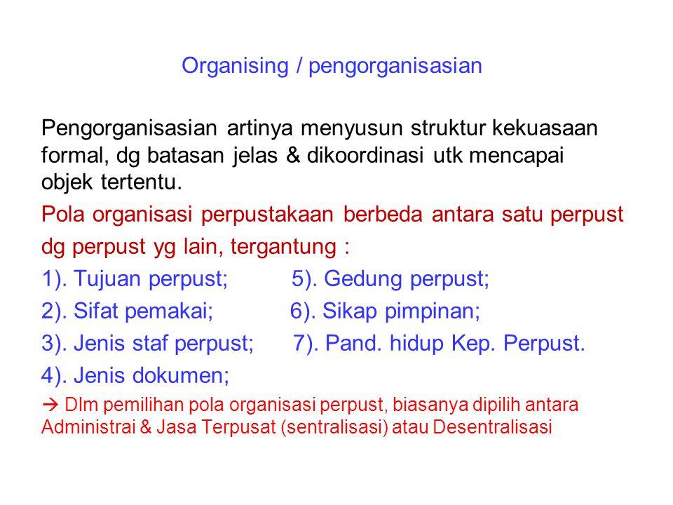 Organising / pengorganisasian Pengorganisasian artinya menyusun struktur kekuasaan formal, dg batasan jelas & dikoordinasi utk mencapai objek tertentu.