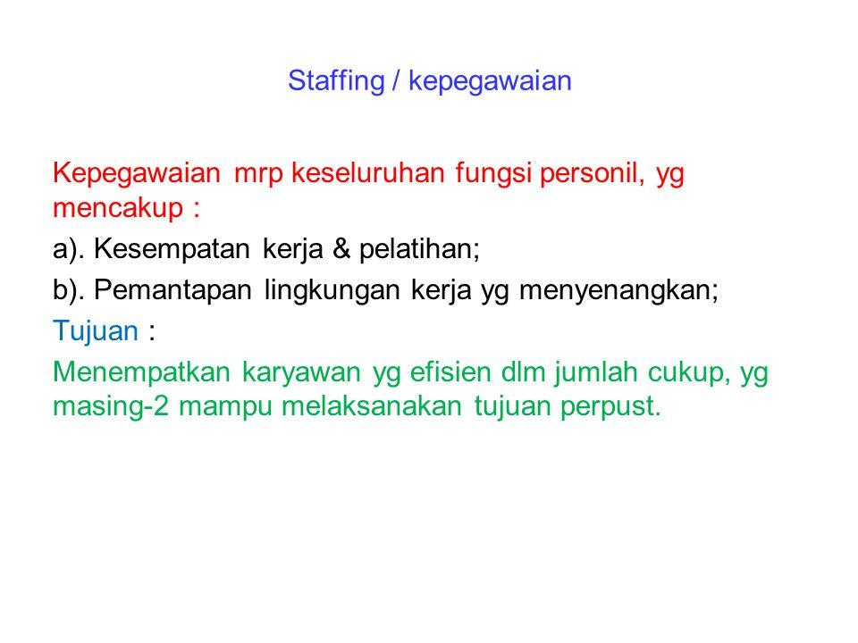 Staffing / kepegawaian Kepegawaian mrp keseluruhan fungsi personil, yg mencakup : a). Kesempatan kerja & pelatihan; b). Pemantapan lingkungan kerja yg