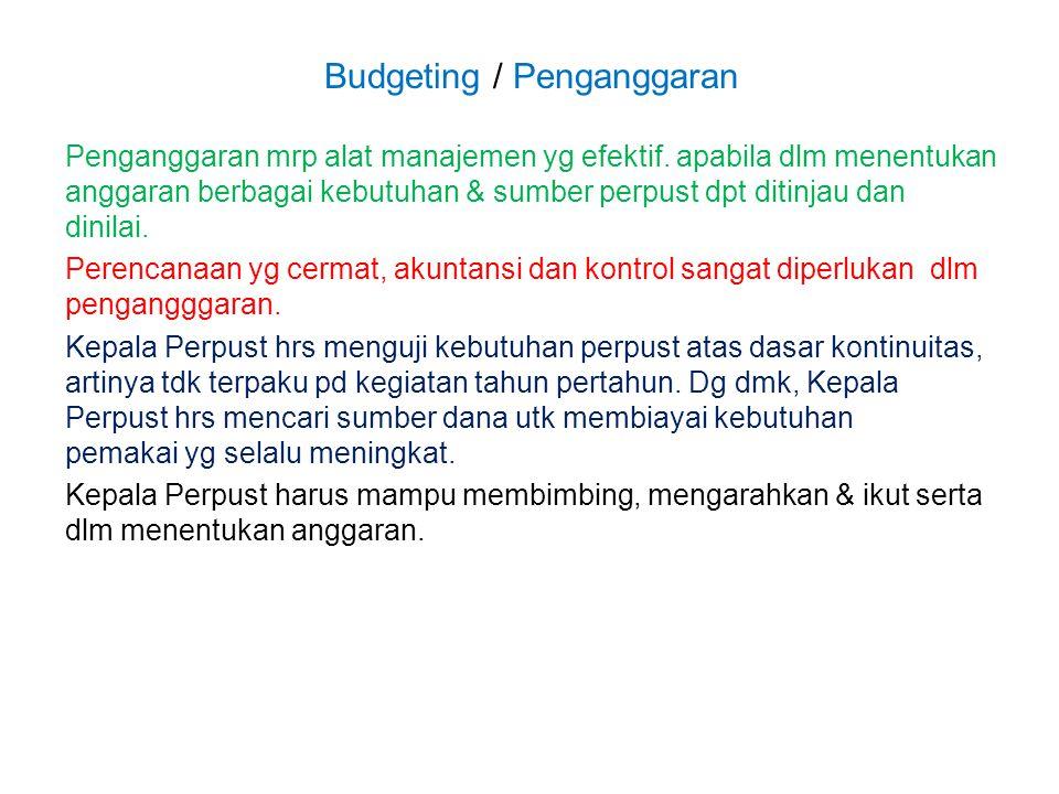 Budgeting / Penganggaran Penganggaran mrp alat manajemen yg efektif. apabila dlm menentukan anggaran berbagai kebutuhan & sumber perpust dpt ditinjau