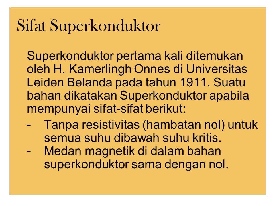 Sifat Superkonduktor Superkonduktor pertama kali ditemukan oleh H.