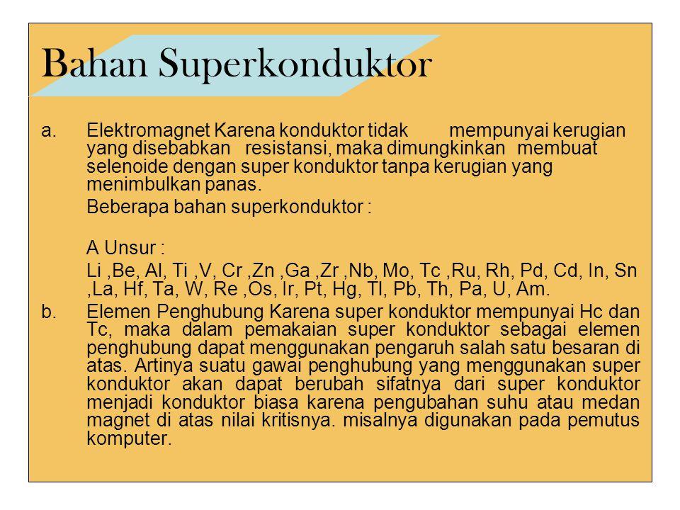 Bahan Superkonduktor a.Elektromagnet Karena konduktor tidak mempunyai kerugian yang disebabkan resistansi, maka dimungkinkan membuat selenoide dengan super konduktor tanpa kerugian yang menimbulkan panas.