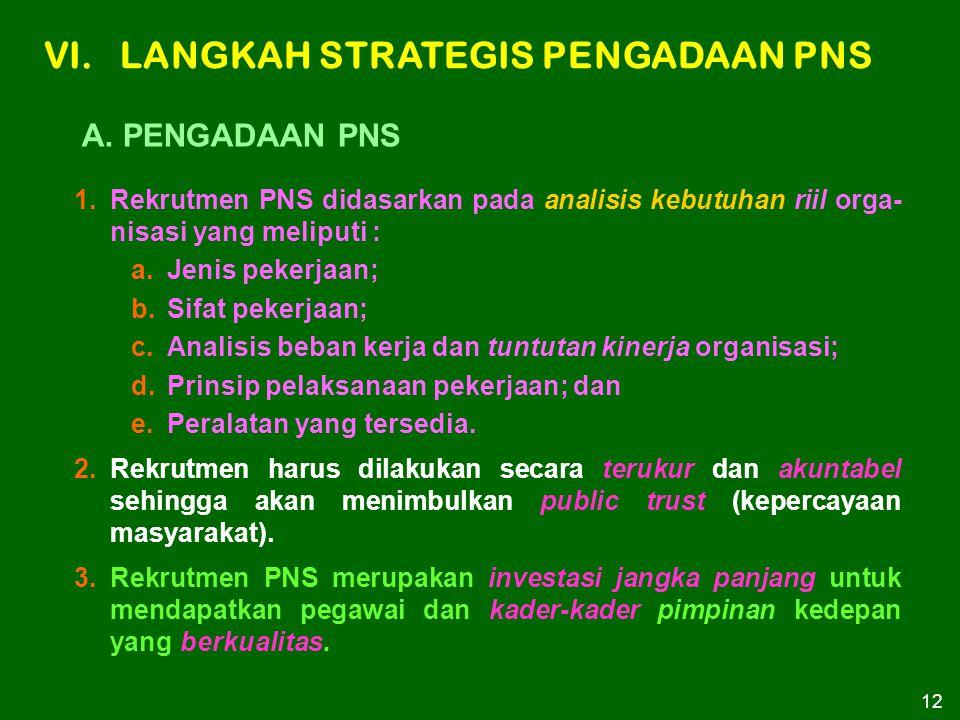 12 1.Rekrutmen PNS didasarkan pada analisis kebutuhan riil orga- nisasi yang meliputi : a.Jenis pekerjaan; b.Sifat pekerjaan; c.Analisis beban kerja d