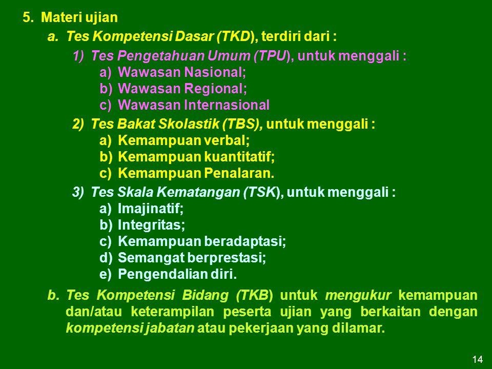 14 5.Materi ujian a.Tes Kompetensi Dasar (TKD), terdiri dari : 1)Tes Pengetahuan Umum (TPU), untuk menggali : a)Wawasan Nasional; b)Wawasan Regional;