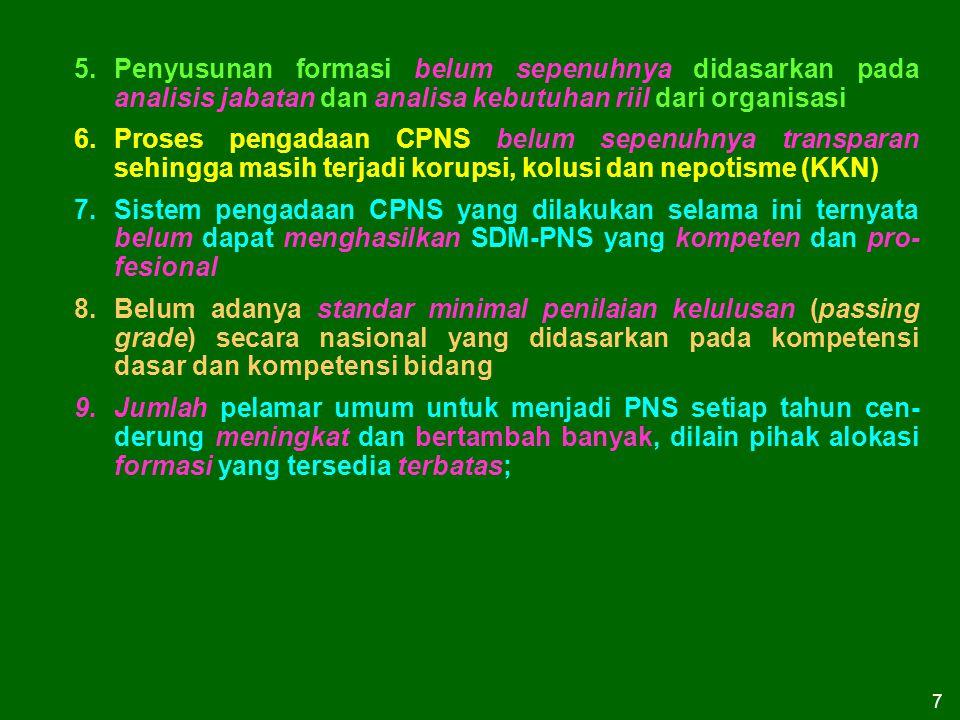 7 5.Penyusunan formasi belum sepenuhnya didasarkan pada analisis jabatan dan analisa kebutuhan riil dari organisasi 6.Proses pengadaan CPNS belum sepe
