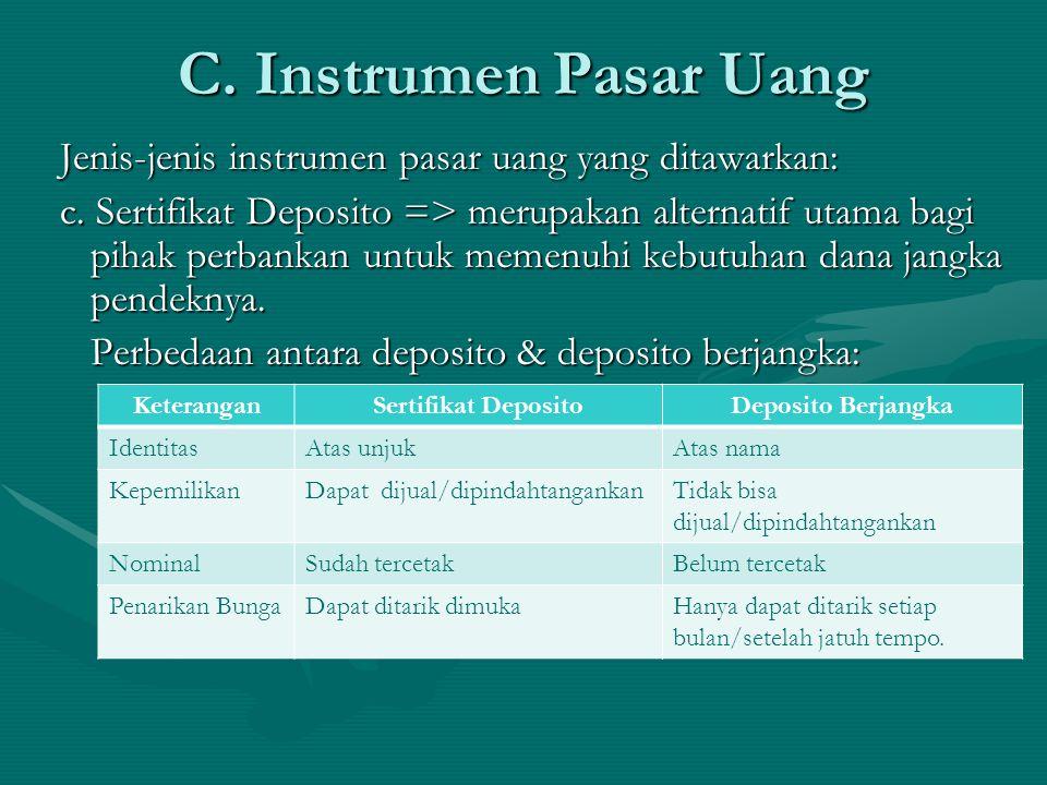 Jenis-jenis instrumen pasar uang yang ditawarkan: c. Sertifikat Deposito => merupakan alternatif utama bagi pihak perbankan untuk memenuhi kebutuhan d