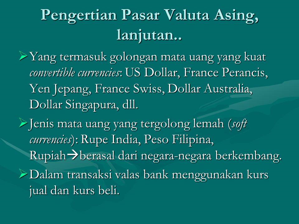  Yang termasuk golongan mata uang yang kuat convertible currencies: US Dollar, France Perancis, Yen Jepang, France Swiss, Dollar Australia, Dollar Si