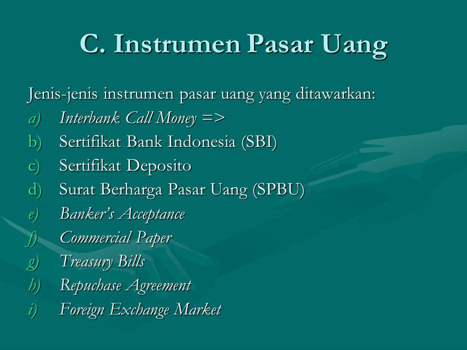 Jenis-jenis instrumen pasar uang yang ditawarkan: a)Interbank Call Money => b)Sertifikat Bank Indonesia (SBI) c)Sertifikat Deposito d)Surat Berharga P