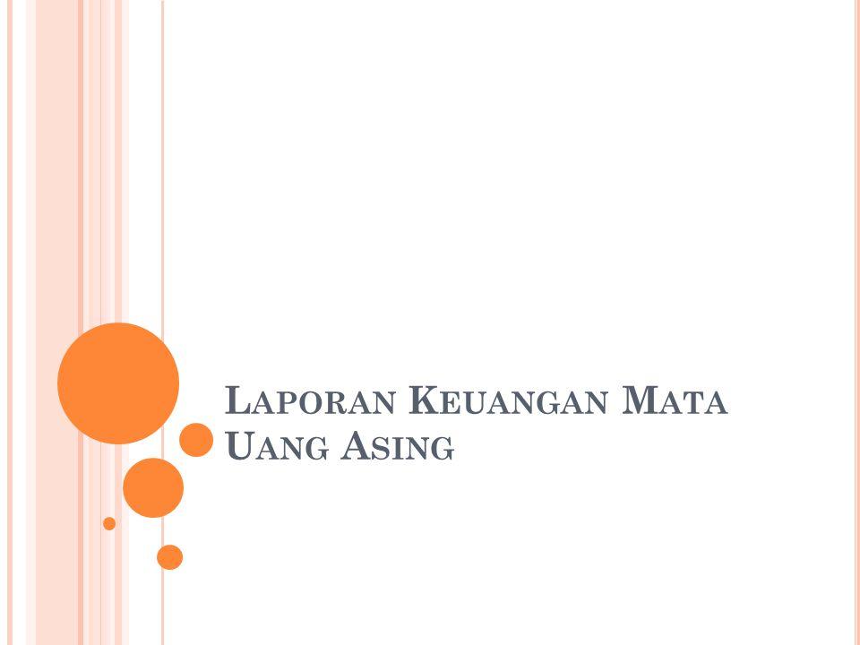 AKUN-AKUN AKTIVA DAN KEWAJIBAN Kurs Sekarang AKUN-AKUN LABA RUGI Kurs Rata-rata PENJABARAN LAPORAN KEUANGAN TRANSLATION (CURRENT METHOD